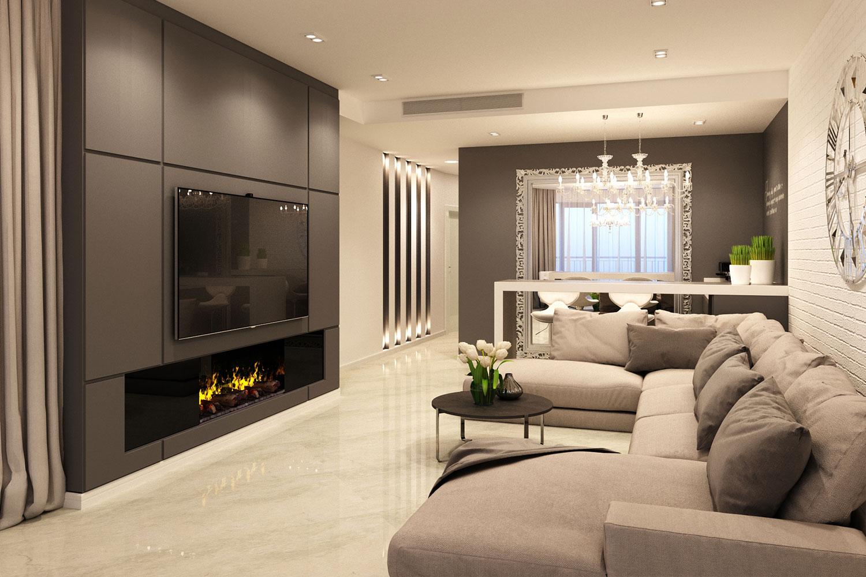 дизайн зала с камином и телевизором фото