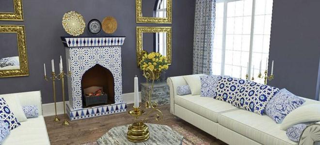 дизайн маленькой комнаты с камином